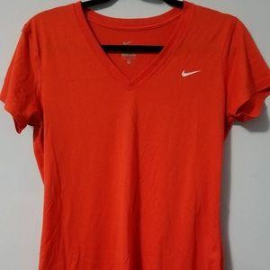 Awesome Nike coral orange vee neck tee, M
